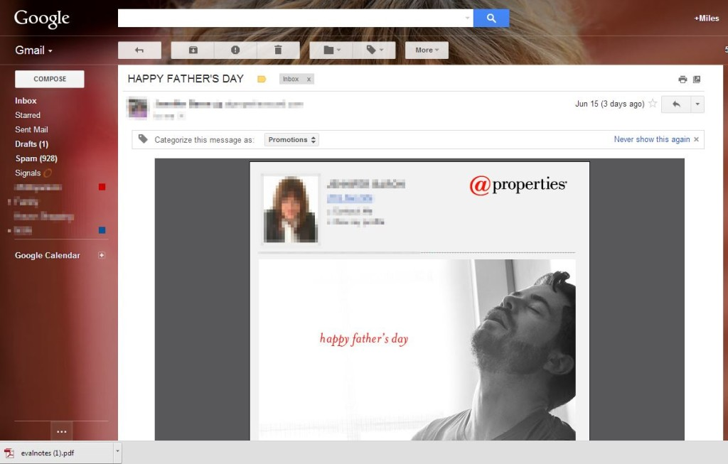 "My ""Happy Father's Day"" email from At Properties."