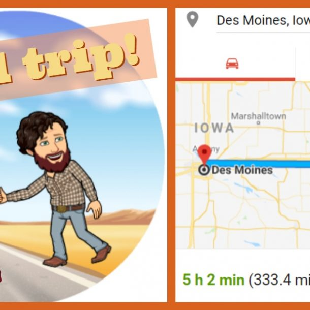 cartoon hitchhiker and map of des moines
